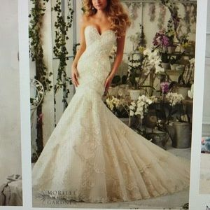 "Wedding gown, size 4 58"" length light gold"